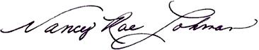 Nancy Rae Lohman Signature